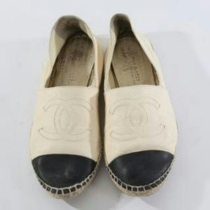 CHANEL White Leather Espadrilles Shoes